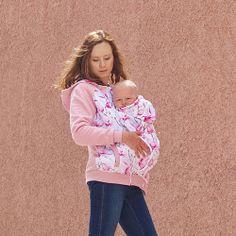 Babywearing jacket coat hoodie ADA Maternity Pregnancy Multifunctional Kangaroo baby carrying jacket pink with floral print Baby Wearing, Pregnancy, Pink, Maternity, Tie Dye, Beautiful, Hoodies, Etsy, Coat
