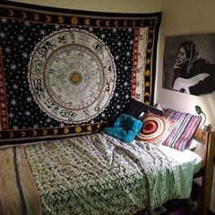ASTROLOGY ZODIAC Hippie Tapestry Indian Wall Hanging Boho Celestial Bedspread #Handmade