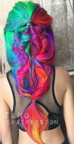 Rainbow braided unique dyed hair color Care Skin Condition and Treatment Oil Makeup Hair Rainbow, Rainbow Braids, Hair Colorful, Bright Hair, Hair Dye Colors, Cool Hair Color, Love Hair, Gorgeous Hair, Pretty Hairstyles