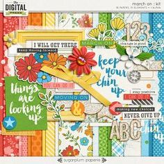 March On by Sugarplum Paperie is a digital scrapbooking kit that is all about growing, changing and putting one foot in front of the the other. Whether you are scrapping about healthy changes you are making in your life, or a big, scary change in your life--or even if you just need a little encouragement that you can accomplish your dreams--this kit is sure to brighten your day!