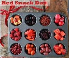 Need a healthy snack for the big game? For Valentines Day? For Red Ribbon Week?  Try our muffin tin buffet! #redsnacks #healthysnacks #healthykids