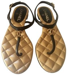 e7be3bbd56fdb9 Black Gold Quilted Interlocking Cc Leather Sandals