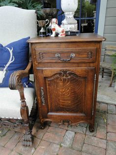 Slim Antique French Carved Tiger Oak End Table, Wine Liquor Cabinet Nightstand  #FrenchCountry #Craftmenoftheera