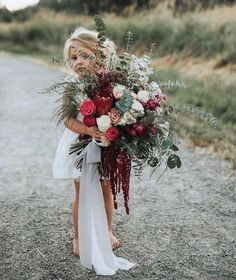 Rock My Wedding: When your bouquet is as big as your flower girl ❤️ . Image by Flowers . Green Wedding, Boho Wedding, Floral Wedding, Wedding Bouquets, Wedding Flowers, Wedding Day, Wedding Dresses, Nautical Wedding, Fall Wedding Hair
