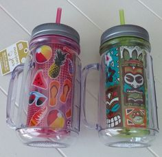 COOL GEAR Mason Jar Handles Double-Walled BPA-Free Travel Mug Graphic Hot Cold #CoolGear