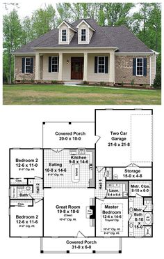 #Italian #HousePlan 59937 | The master suite features a wonderful bathroom with large walk-in closets. The great room has gas logs as well as built-in cabinets and 12' trayed ceilings that make it a great place to relax and spend time with family and friends. The rear covered porch provides a great space for those summer cookouts as well as being close to the kitchen. A dining room and breakfast area are provided for formal or informal meals.#houseplans
