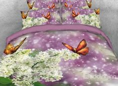 Onlwe 3D White Flower with Butterflies flying Printed 4-Piece Bedding Sets/Duvet Covers