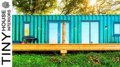 Converted Shipping Container Nestled in a Amazing Private Meadow - Container Hacker 40ft Shipping Container, Converted Shipping Containers, Glazed Walls, Tiny House Builders, Exterior Cladding, Big Windows, Green Landscape, Metal Homes, Industrial House