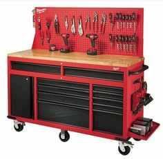 Renown tool manufacturer Milwaukee has presented the new mobile work station a heavy-duty work bench with multiple storage solutions.  sc 1 st  Pinterest & The best tool cabinet Iu0027ve seen! | Cool tool | Pinterest | Tool ...