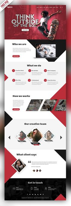 This Agency Creative Website Template comes Easy & customizable Layered PSD file which can save the time to create your site. Feel free to use it in your upcoming personal and commercial project. Layout Design, Graphisches Design, Website Design Layout, Website Design Inspiration, Layout Site, Website Designs, Web Layout, Flat Design, Design Model