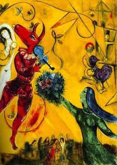 Marc chagall, la dance.  그가 살던 시기는 격동의 시기였다. 러시아 태생이던 그는 러시아 혁명과 세계 1, 2차대전을 피해 프랑스와 미국으로 차례로 망명했을 정도였다. 그러한 암울한 시기에 오히려 희망을 그린 작가가 샤갈이 아닐까 하는 생각이 들었다. 실제로 내가 조사한 바에 의하면 몇 작품들 외에는 모두 현란한 색체에 리듬감이 느껴지는 그림이 대다수이다. 특히 이번 작품처럼 악기를 들고 있거나, 음악을 표현하는 듯한 부드러운 곡선이 뜬금없이 화면을 채우기도 한다. 각각의 색상들이 모두 튀고 화려하지만, 한 화면 안에서 충돌 없이 부드럽게 섞이며 조화되는 모습이 매우 아름답다.