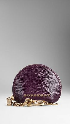 Patent London Leather Round Coin Case   Burberry