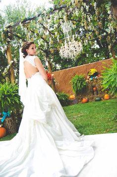 I absolutely loved my dress! #bride #weddingdress #dress #orange #turquoise #brown #burlap #wood #masonjar #wedding #rustic #county #fall  #HughesMarseeWedding13
