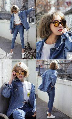 jeans + jean jacket