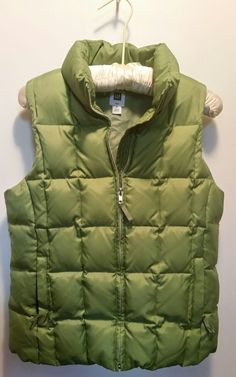 Gap down insulated puffer vest jacket women medium green zipper front rn54023 | Clothing, Shoes & Accessories, Women's Clothing, Coats & Jackets | eBay!