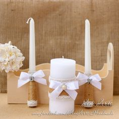 Wedding Unity Candle Set Wedding Candles Rustic Unity by AniArts Diy Candles Design, Baptism Candle, Wedding Unity Candles, Candle Art, Personalized Candles, Candle Centerpieces, Girl Decor, Baptisms, Baptism Invitations