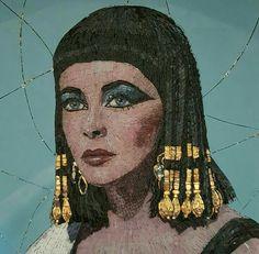 Mosaic Portrait of Elizabeth Taylor as Cleopatra Made by Kirsten Jonas