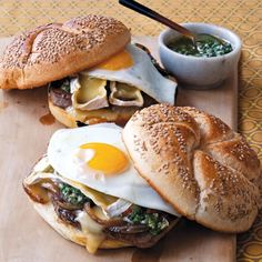 Steak Sandwich with Onions, Camembert, Fried Egg, and Chimichurri