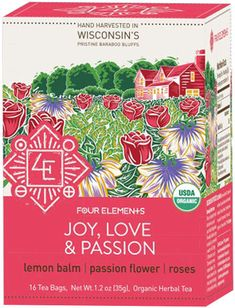 Joy, Love + Passion Tea by Four Elements (16 Tea Bags),  Traditional herbs for the heart, Roses, Lemon Balm, Passionflower, Hibiscus Flower and Borage are blended in this deliciously complex, floral blend. Product Details: Ingredients: Certified Organic Lemon Balm leaf, Borage leaf and flower, Passion flower leaf and flower, Damiana leaf, Hibiscus flowers, Rose petals, Stevia leaf, Cinnamon Bark, Ginger root. $6.89. Smallflower (ad)