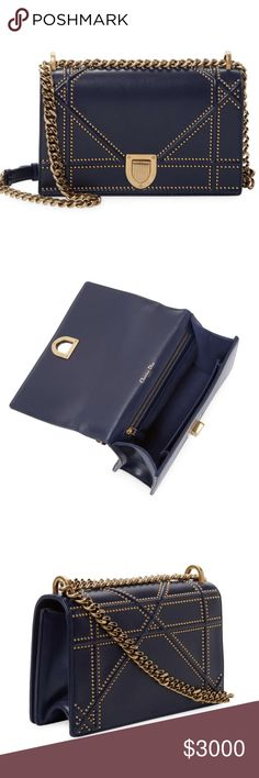 47f2079f6b53 Dior Diorama Crossbody - Indigo Studded Lambskin Diorama bag in indigo blue studded  lambskin with large Cannage design