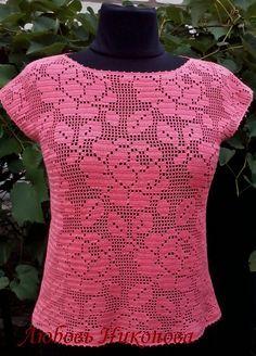 филейное вязание Crochet Girls, Cute Crochet, Beautiful Crochet, Crochet Lace, Crochet T Shirts, Crochet Cardigan, Crochet Clothes, Crochet Rug Patterns, Fillet Crochet
