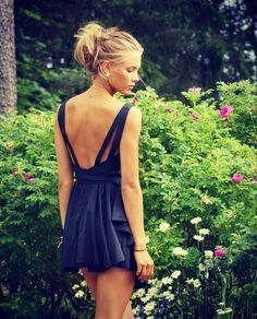Love low backs. It would be soo cute if it were tied in the back with a loose black bow.