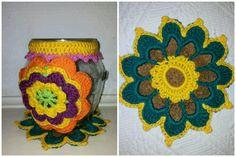 Colourful crochet. Glass jar for tealight.
