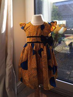 Blue fan ankara girls dress by Shakarakids on Etsy
