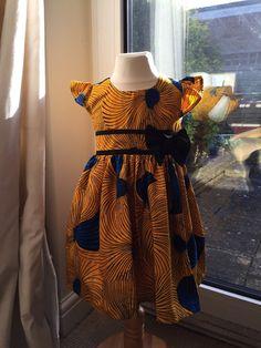 Blue fan ankara girls dress by Shakarakids on Etsy African Dresses For Kids, African Babies, African Children, African Inspired Fashion, African Print Fashion, African Fashion Dresses, African Attire, African Wear, African Style
