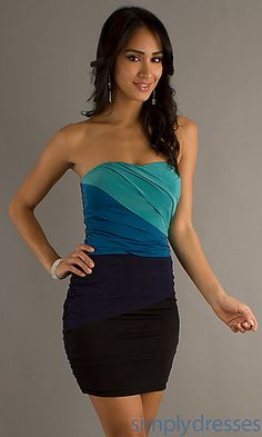 Short Strapless Fitted Dress at SimplyDresses.com
