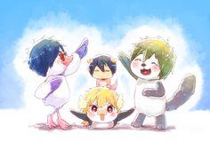 Taking the High Speed Movie pose ... From mako_rakko ... Free! - Iwatobi Swim Club, free!, iwatobi, nagisa hazuki, nagisa, hazuki, pinguin, makoto tachibana, makoto, tachibana, sea otter, haruka nanase, haru nanase, haru, haruka, nanase, river otter, rei ryugazaki, rei, ryugazaki, seagull