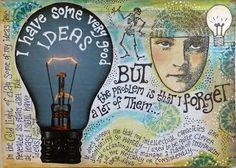 This page began with the light bulb picture which I cut out of a magazine - it just sparked something on the subject of ideas generally. Mind Map Art, Mind Maps, Creative Mind Map, Creative Writing, Mind Map Design, Art Journal Pages, Art Journals, Visual Journals, A Level Art Sketchbook