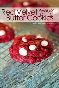 Red Velvet Gooey Butter Cookies #recipe   Perfect sweet treat for Valentine's Day and it starts from a box of cake mix!