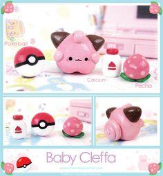 Baby Cleffa Figure by Oborochann.deviantart.com