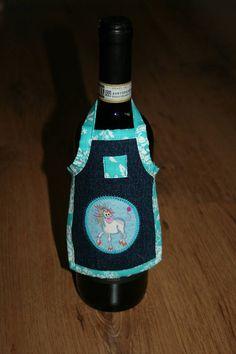 Spüli Schürze Kleid für Weinflaschen Crazy Unicorn türkis