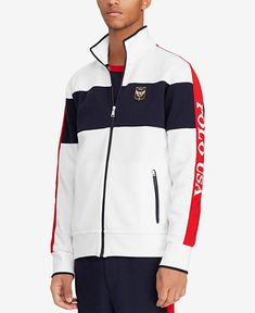 Polo Ralph Lauren Men's Double-Knit Track Jacket - White Multi S Ralph Lauren Jackets, Polo Ralph Lauren, Tommy Hilfiger Sweatshirt, Knit Jacket, Jacket Men, Double Knitting, Jackets Online, Adidas Jacket, Track