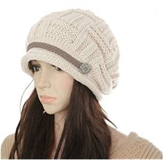 Women's Winter Knit Beanie Cap Warm Earmuffs Slouchy Hat Chunky Cap Button Strap Cap