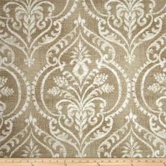 Swavelle/Millcreek Dalusio Damask Sand  from @fabricdotcom  Screen printed on cotton duck; this versatile medium weight fabric is perfect for window treatments (draperies, valances, curtains and swags), accent pillows, duvet covers and upholstery. Colors include white and sand.