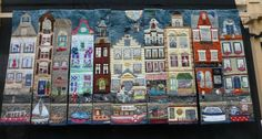 lovely multipart quilt panels showing dutch canal houses, from the patchworkrama blog