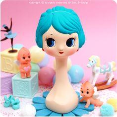 Miniature Mannequin Head - Blue, dressydoll.com #kitsch