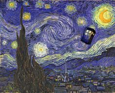 Starry Night with TARDIS. Probably painted after the Doctor saved Vincent. (But with time travel, who can really say?)