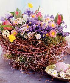 Ohne Moos nichts los: In einem weichen Nest kuscheln Eier mit bunten Frühlingsblumen.