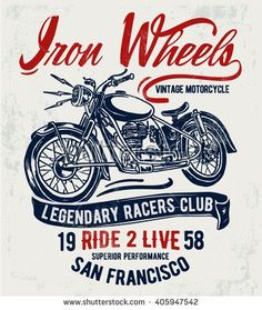 Motorcycle typography, t-shirt graphics, vectors.