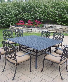 Loving this Antique Black Hampton Nine-Piece Outdoor Dining Set on #zulily! #zulilyfinds