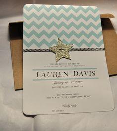 Chevron, glitter star and bakers twine mint green and gold birthday invitation, kraft envelope. $25.00, via Etsy.