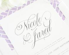 Beautiful Wedding Invitation - Light Purple Wedding Invitations - Upscale, Chic, Script Font - Garden Script Design  - Sample Set