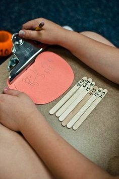 Love putting number sentences on popsicle sticks!