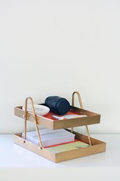 DIY Room Decor:  How To Make A Desk Organizer from Hangers & Acrylic Frames   Apartment Therapy Reader Project Tutorial