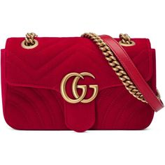 Gucci Gg Marmont Velvet Mini Bag featuring polyvore, women's fashion, bags, handbags, red, shoulder bags, women, gucci handbags, mini handbags, purple purse, red purse and red handbags