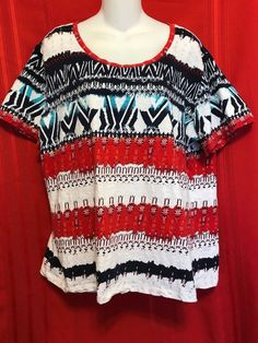 Coral Bay Pullover 1X Top  Scoop Neck Short Sleeves Airy Multi-color  R/W/B #CoralBay #Scoop #Casual